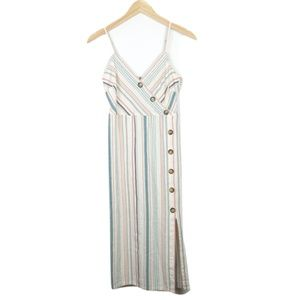 Altar'd State Striped Button Midi Sundress